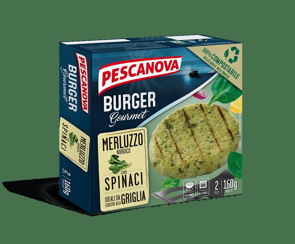 Burger Gourmet Merluzzo con Spinaci