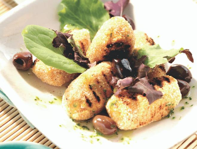 Crocchette di merluzzo con olive e pesto