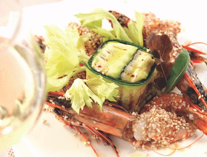 Timballo di zucchine e gamberi al sesamo