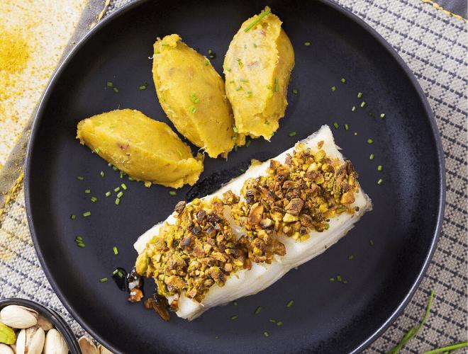 Baccalà al pistacchio con purea di patate dolci