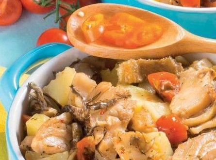 Baccalà con patate e carciofi